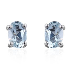 Espirito Santo Aquamarine 0.90 ct. Silver Stud Earrings with Push Back in Platinum Overlay