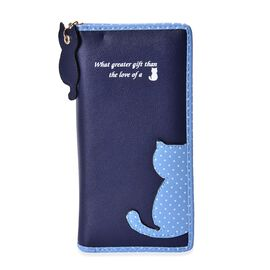 Cat Charm Navy and Blue Colour Wallet (Size 19x9x3 Cm)
