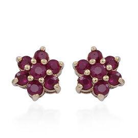 9K Y Gold Burmese Ruby (Rnd) Floral Stud Earrings (with Push Back) 1.000 Ct.