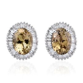 ILIANA 18K White Gold Natural Yellow Tanzanite (Ovl 2.75), Diamond (SI G-H) Stud Earrings (with Screw Back) 3.150 Ct.