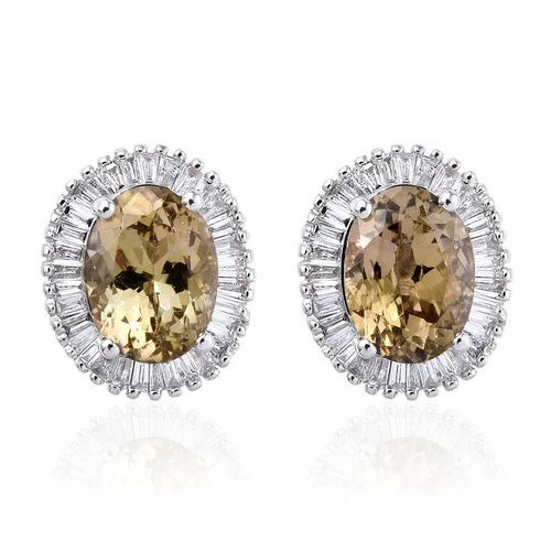 ILIANA 18K White Gold 3.15 Carat Natural Yellow Tanzanite Oval Halo Stud Earrings, Diamond SI G-H with Screw Back.