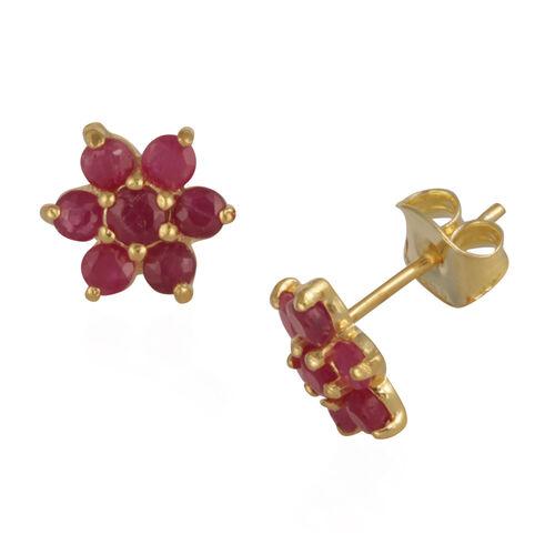 AA Burmese Ruby (Rnd) Floral Stud Earrings in 14K Gold Overlay Sterling Silver 1.250 Ct.