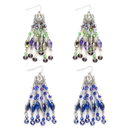 Set of 2 - Simulated Sapphire and  Multi Colour Chandelier Earrings
