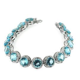 Sky Blue Topaz (Rnd), White Topaz Bracelet in Rhodium Plated Sterling Silver (Size 7) 50.200 Ct.