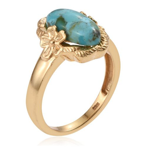 Arizona Matrix Turquoise (Ovl) Solitaire Ring in 14K Gold Overlay Sterling Silver 2.250 Ct.