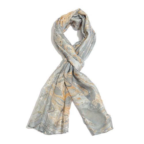 100% Mulberry Silk Grey and Yellow Colour Marble Hand Screen Printed Scarf (Size 170X100 Cm)