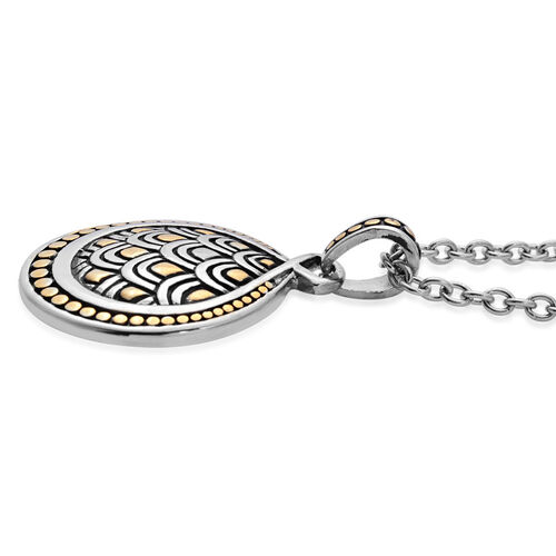 Pendant With Oval Link Chain in Black Tone with Stainless Steel