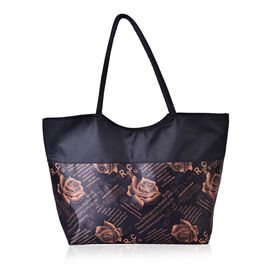 Golden Colour Rose Pattern Black Colour Tote Bag (Size 52x38x32x15.5 Cm)