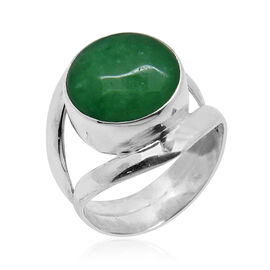 Royal Bali Collection Chinese Green Jade (Rnd) Ring in Sterling Silver 14.900 Ct.