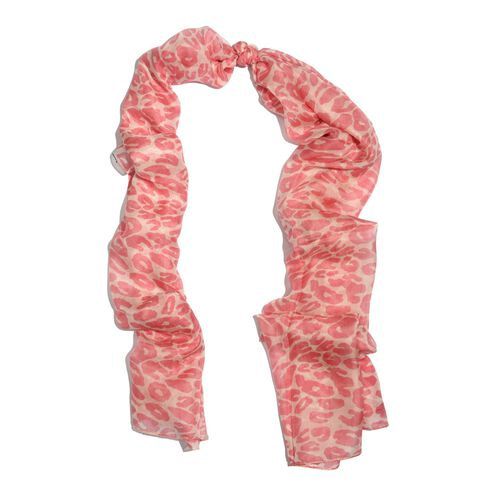 100% Mulberry Silk Pink Colour Abstract Pattern White Colour Scarf (Size 180x100 Cm)