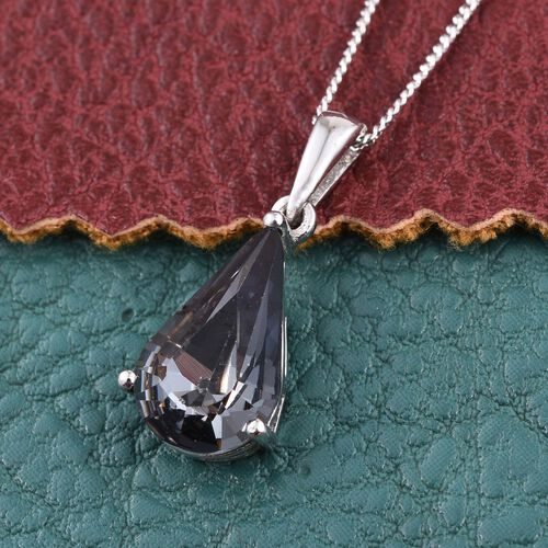 J Francis Crystal from Swarovski - Silver Night Crystal (Pear) Pendant With Chain in Platinum Overlay Sterling Silver