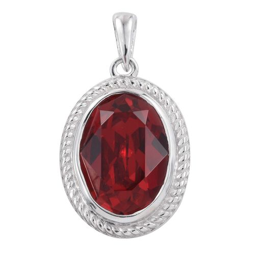 J Francis Crystal from Swarovski - Light Siam Colour Crystal (Ovl) Solitaire Pendant in Platinum Overlay Sterling Silver
