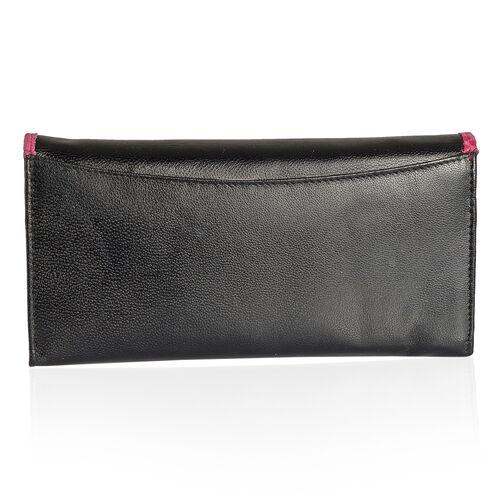 Summer New Collection Genuine Leather Fuchsia Colour Floral Pattern RFID Blocker Black Colour Ladies Wallet (Size 19x10x2.5 Cm)