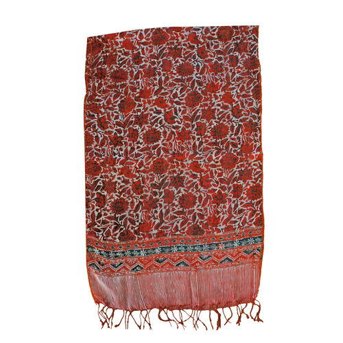 Orange Colour Flower Printed Original Silk Scarf (Size 150x45 Cm)