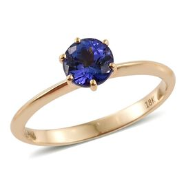 ILIANA 18K Yellow Gold 1 Carat AAA Tanzanite Solitaire Ring