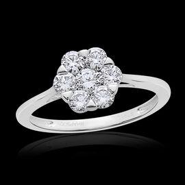 RHAPSODY 950 Platinum SGL Certified Diamond (Rnd) (VS/E-F) 7 Stone Floral Ring 1.000 Ct.