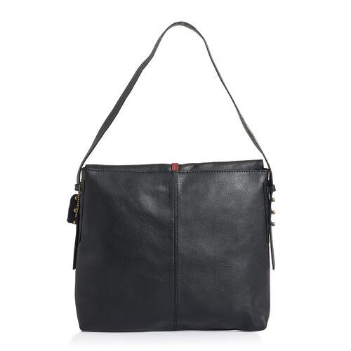 Genuine Leather Black Colour Shoulder Bag with Shoulder Strap