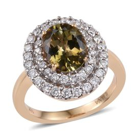 ILIANA 18K Yellow Gold AAA Natural Yellow Tanzanite, Diamond Ring 3.30 Carat with SI G-H Diamonds.