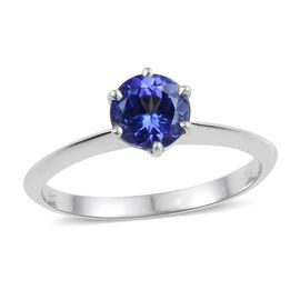 14K White Gold 1 Carat Tanzanite Round Solitaire Ring in 6 Prongs.