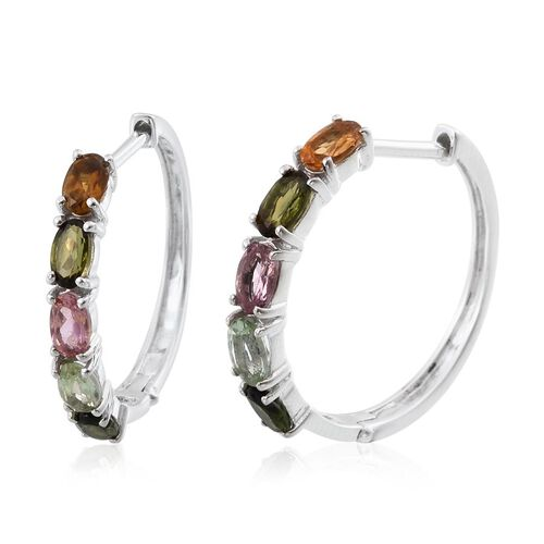 Rainbow Tourmaline (Ovl) Hoop Earrings (with Clasp) in Platinum Overlay Sterling Silver 2.000 Ct.