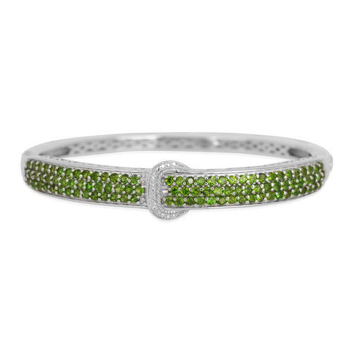 Russian Diopside (Rnd), Diamond Bangle (Size 7) in Platinum Overlay Sterling Silver 3.510 Ct.
