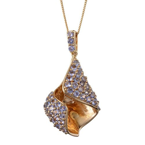 Tanzanite (Rnd) Pendant With Chain in 14K Gold Overlay Sterling Silver 3.000 Ct.