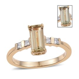 ILIANA 18K Yellow Gold 1.25 Carat AAA Turkizite Long Octagon Solitaire Ring with Princess Diamond SI G-H.
