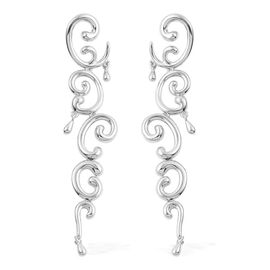 LucyQ Air Earrings (with Push Back) in Rhodium Plated Sterling Silver 15.80 Gms.