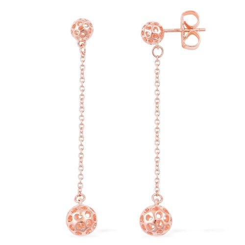 RACHEL GALLEY Rose Gold Overlay Sterling Silver Mini Globe Double Drop Earrings (with Push Back), Silver wt 3.87 Gms.
