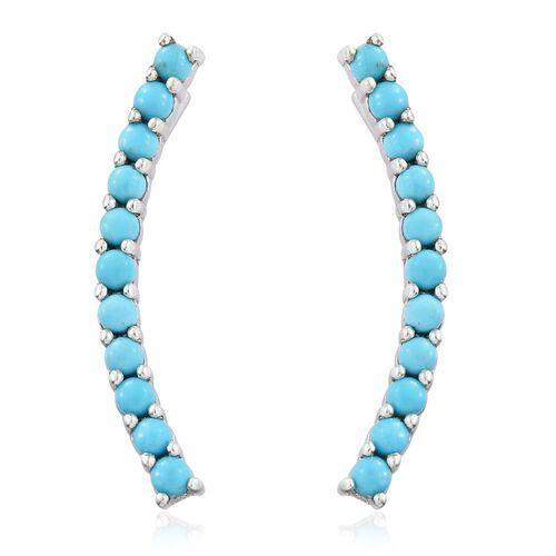 Arizona Sleeping Beauty Turquoise Silver Ear Climber Earrings in Platinum Overlay