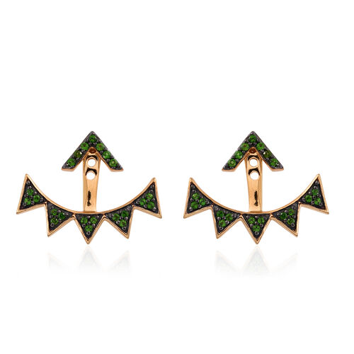 JCK Vegas Collection Russian Diopside (Rnd) Jacket Earrings (with Push Back) in Yellow Gold Overlay Sterling Silver 1.632 Ct.
