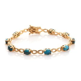 Mojave Blue Turquoise (Ovl) Infinity Bracelet (Size 7.25) in 14K Gold Overlay Silver 7.750 Ct.