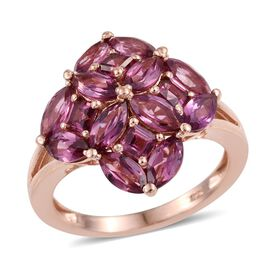 Odisha Rhodolite Garnet (Mrq) Ring in Rose Gold Overlay Sterling Silver 4.250 Ct.