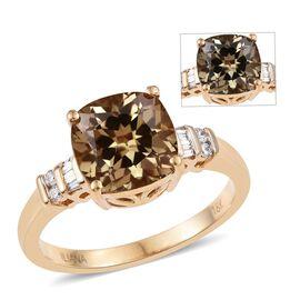 ILIANA 18K Yellow Gold 1 Carat Turkizite Cushion Ring with Diamond SI G-H.