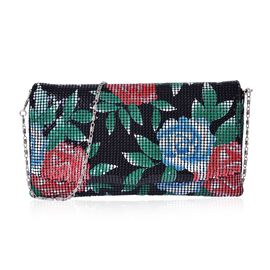 Embelished Black and Multi Colour Floral Pattern Clutch Bag in Silver Tone (Size 23x13 Cm)
