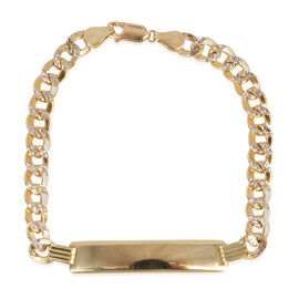 Close Out Deal 9K Y Gold Flat ID Curb Bracelet (Size 8), Gold wt 8.77 Gms.