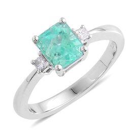 14K W Gold Boyaca Colombian Emerald (Oct 1.45 Ct), Diamond Ring 1.500 Ct.
