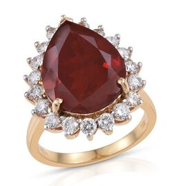 ILIANA 18K Y Gold AAAA Jalisco Fire Opal (Pear 6.75 Ct), Diamond (SI/G-H) Ring 7.900 Ct.