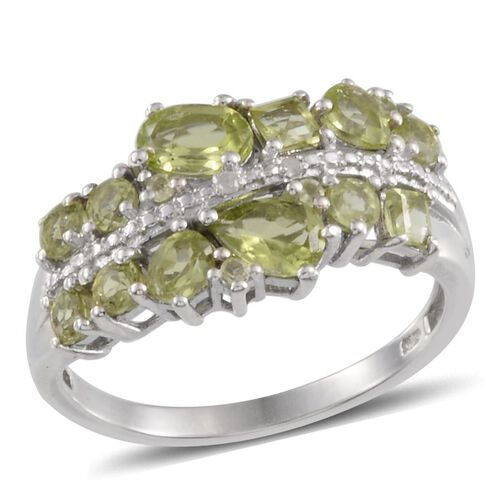 Hebei Peridot (Pear), Diamond Ring in Platinum Overlay Sterling Silver 2.250 Ct.
