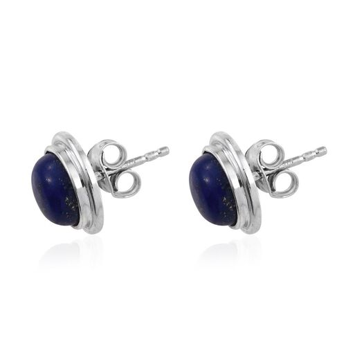 Lapis Lazuli (Rnd) Stud Earrings (with Push Back) in Platinum Overlay Sterling Silver 4.500 Ct.