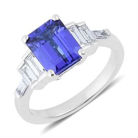 ILIANA 18K W Gold AAA Tanzanite (Oct 2.50 Ct), Diamond Ring 3.000 Ct.