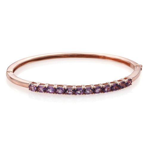 Rose De France Amethyst (Ovl) Bangle (Size 7.5) in ION Plated 18K Rose Gold Bond 3.750 Ct.