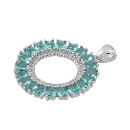 ELANZA AAA Simulated Paraiba Tourmaline (Ovl), Simulated Diamond Pendant in Rhodium Plated Sterling Silver