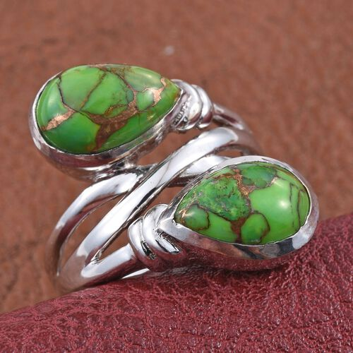 Mojave Green Turquoise (Pear) Crossover Ring in ION Plated Platinum Bond 6.750 Ct.