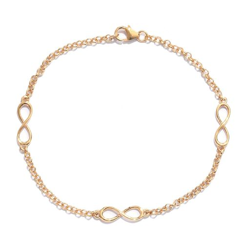 14K Gold Overlay Sterling Silver Infinity Station Chain Bracelet (Size 7.5), Silver wt 3.09 Gms.