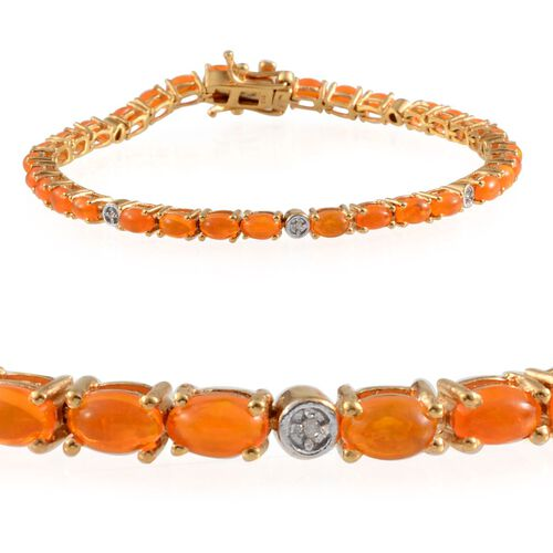 Orange Ethiopian Opal (Ovl), Diamond Bracelet in 14K Gold Overlay Sterling Silver (Size 7.5) 5.050 Ct.