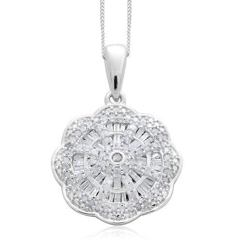 Diamond (Rnd) Pendant with Chain in Platinum Overlay Sterling Silver 0.750 Ct.