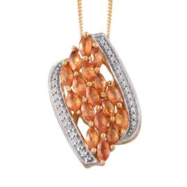 Orange Sapphire (Mrq), Diamond Pendant With Chain in 14K Gold Overlay Sterling Silver 2.010 Ct.