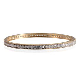 Simulated Diamond (Rnd) Bangle (Size 7.5) in Yellow Gold Overlay Sterling Silver