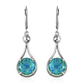 Peacock Quartz (Rnd) Lever Back Earrings in Platinum Overlay Sterling Silver 7.500  Ct.